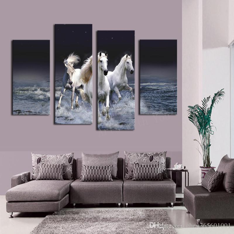 2016 Hot Sell 4 panel Running Horse Large HD Decorative Art Print Painting On Canvas For Living Room Wall Paintings Pictures