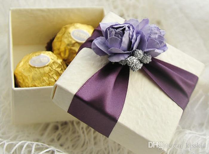 bonbons élégante boîte blanche avec ruban et cadeaux de mariage Rose Boîtes Favor Couleurs pour Select