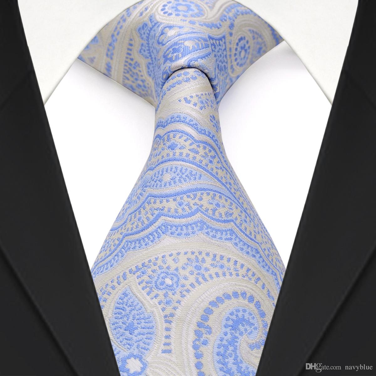 bbc6b064e95a F23 Light Blue Azure White Silver Floral Paisley Mens Ties Necktie Brand  New 100% Silk Handmade Pink Bow Tie Bow Ties For Boys From Navyblue, $5.63|  DHgate.
