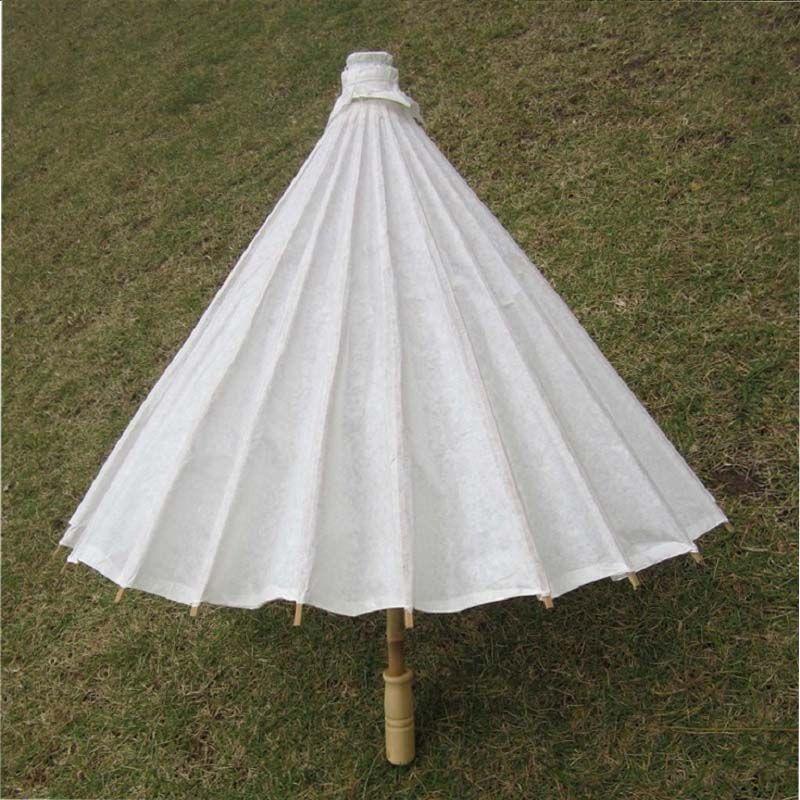 Bambou Diamètre 23.6 pouces Parapluie De Mariage Parasol Papier Blanc Manche Longue De Mariage Faveur Parasol Adulte Taille ZA0946