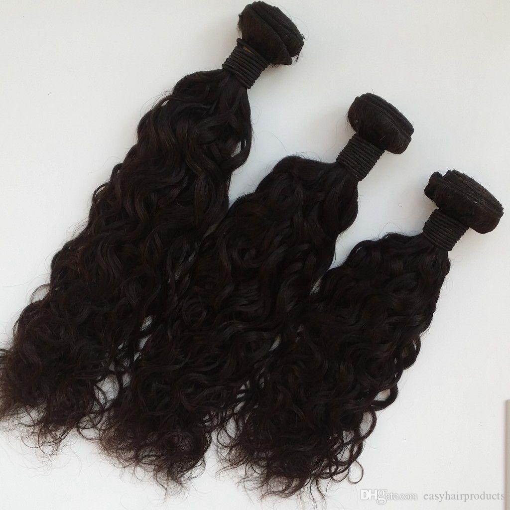 13x4 Ear To Ear Silk Base Lace Frontal Closure With Bundles Natural Black Virgin Brazilian Human Hair Water Wave Hair Weave Closure G-EASY
