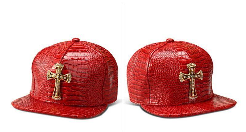 Moda Caps Baseball PU Chapéus Sólidos Cruz Jesus Pingente Casual Snapback Cap Rhinestone Logotipo Hip Hop Rap Snapback Para Mulheres Dos Homens
