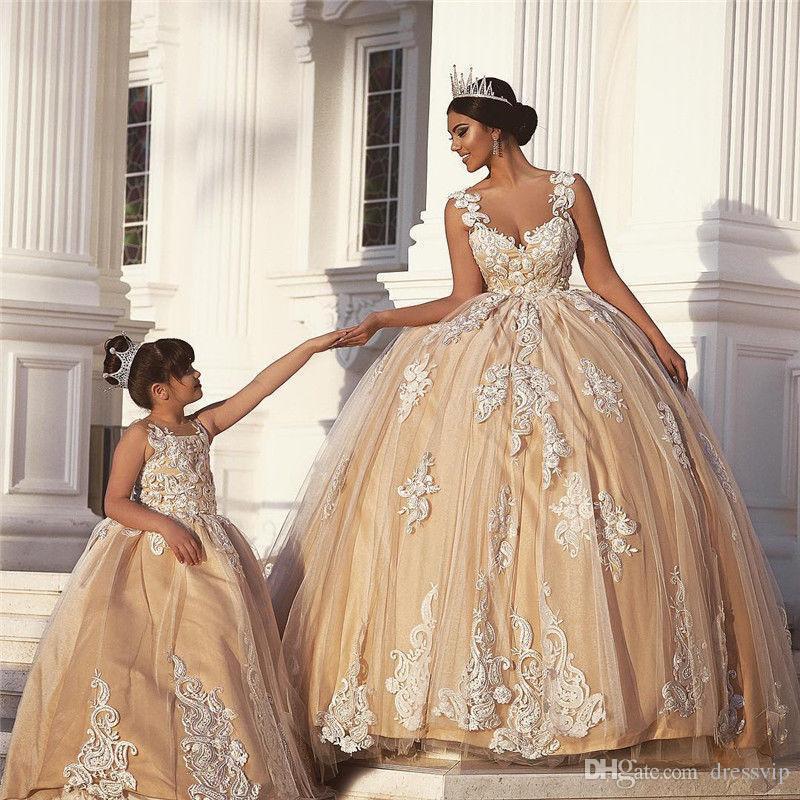 Compre Vestidos De Boda Del País De La Madre Y De La Hija Champagne ...