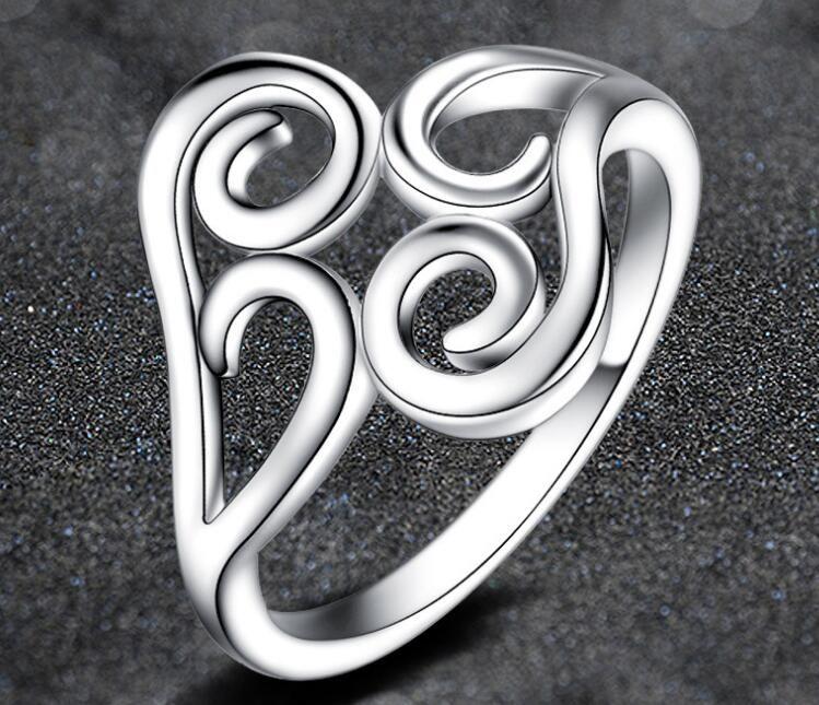 2017 ventas calientes chapado 925 Sterling Silver anillo de rosca encantos de Alta calidad Hombre anillo de mujer joyería de Moda US6 / 7/8/9 10 unids / lote