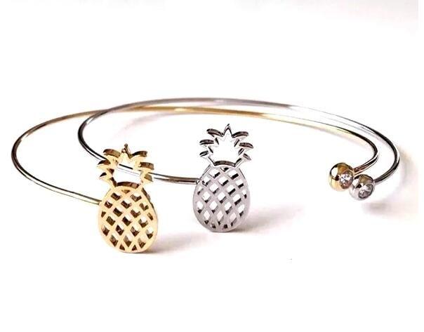 kadınlar erkekler için moda aksesuarları altın gümüş siyah bakır yüksek kaliteli elmas taklidi içi boş ananas mücevher tel manşet bilezikler çekicilik bilezik