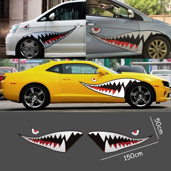 Red Grey Shark Mouth Tooth Teeth Reflective Sticker Vinyl Auto Car ...