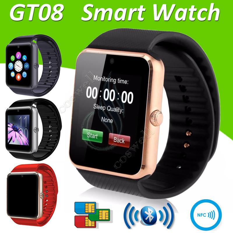 3e92d7f0f Top GT08 Smart Watch Bluetooth 6261D IC SIM Card Slot NFC Health Watchs  Wear for Android Samsung IOS Apple Iphone Smartphone Smartwatch DHL Smart  Watch GT08 ...