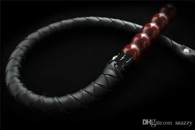 Beaded Handle PU leather Sex Whip Black Fetish 80cm Bull Whip bdsm Sex Toys for Couples Fetish Roleingly Play Spanking Paddle Sex Product