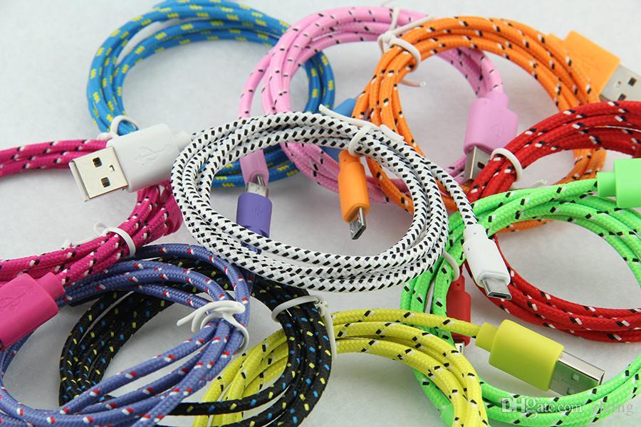 1 Mt 2 Mt 3 Mt 10FT Extra Lange Verlängerung USB Faser Geflochtene Ladekabel Sync Daten Stoff Knit Nylon Chargring Schnur Blei Für Handy Smartphone