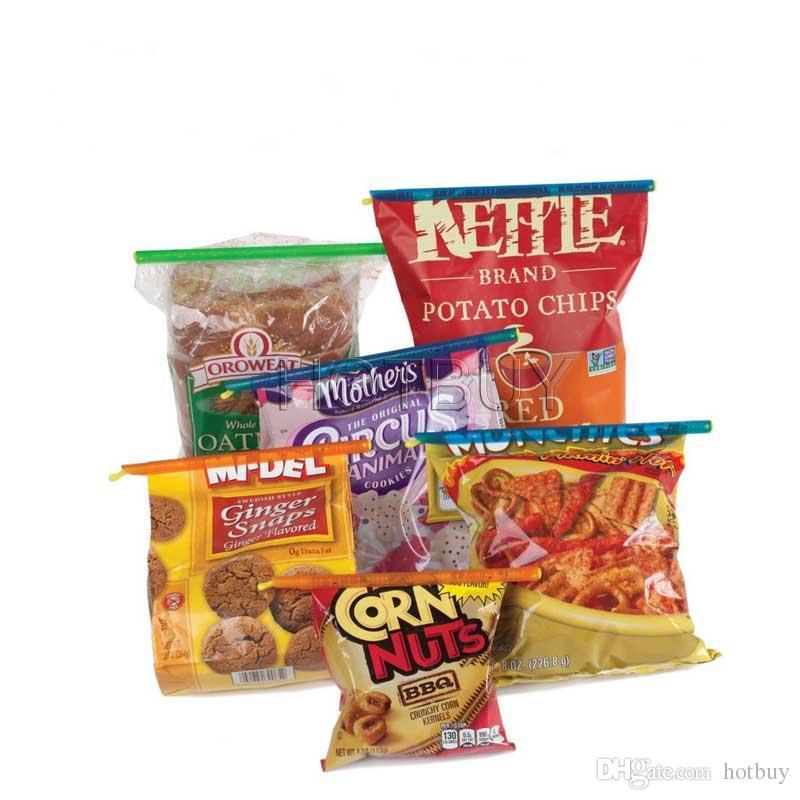Casa Cozinha Food Bag Clips Selar Bloqueio Varas Reutilizáveis Saco Sealer Fresh Food Organizador Selado De Armazenamento # 4039