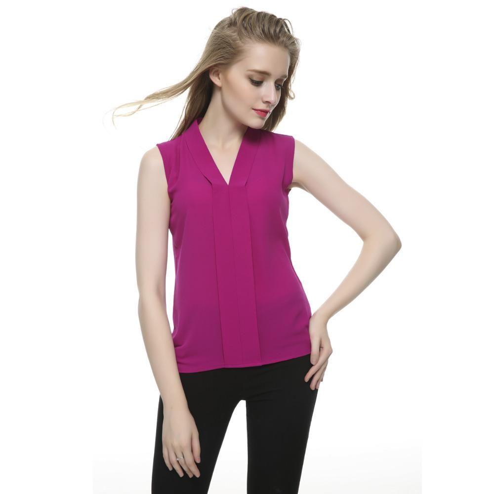 cabacdce605 Women Plus Size Brief V Neck Chiffon Blouses Sleeveless Shirts Blusas  Femininas European Casual Office Wear Tops WT100 High Quality Shirt Baby  China Shirt ...