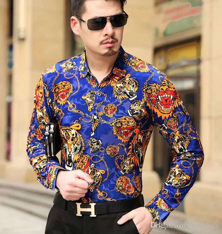 5c56b349392 2019 Top Fashion Trendy Luxury Mens Silk Shirts Formal Tiger Pattern Black  Blue Velvet Shirt Slim Fit Soft Comfortable From Jackhuang