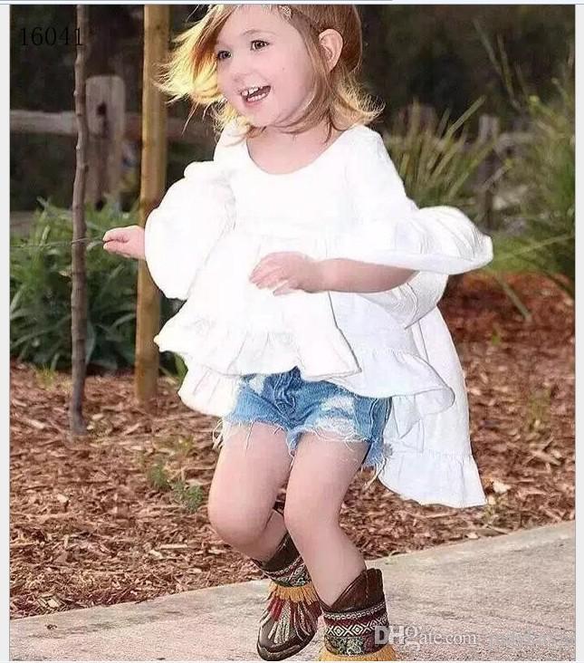 Modeflickor Klädsuppsättningar 2016 Tjej Vit Tuxedo Klänning + Cowboy Shorts Kids Outfits Baby Girl Clothing Child Suit 2-7T /