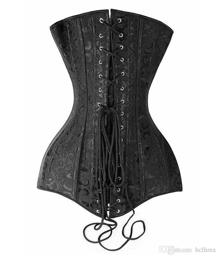 Sexy Taille Plus Noir élégant Jacquard acier Boned Overbust de haute qualité longue ligne Corset Top Bustier