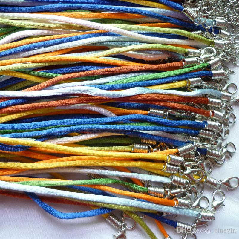 Rainbow Colors Nylon Cord Necklace Cordones Rattail Satin String Rope 18 inch Diy Accessories Material For Making Jewelry