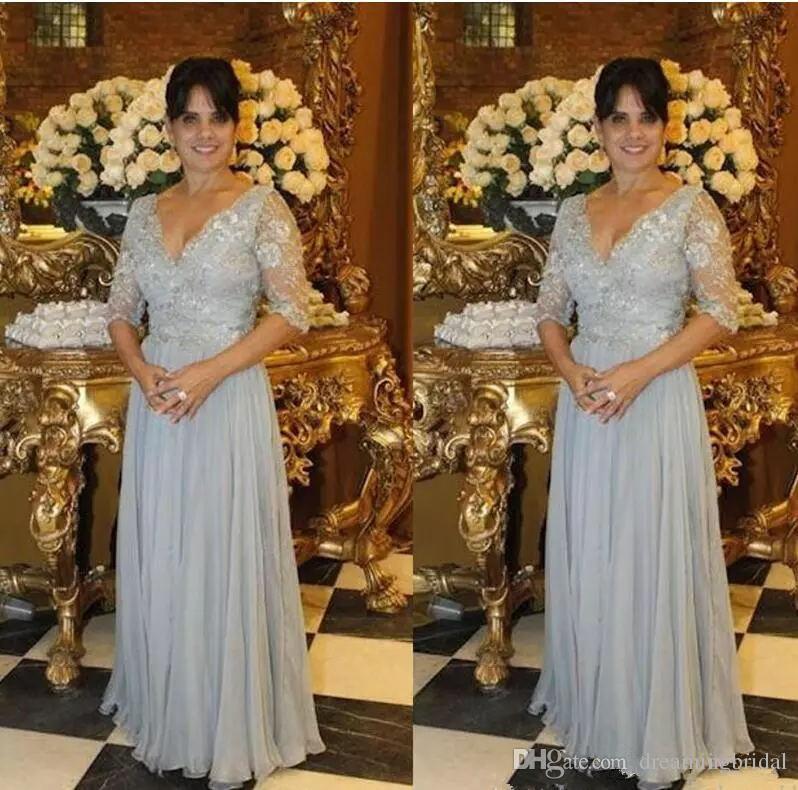 Graue Mutter der Brautkleider 1/2 Langarm V-Ausschnitt A Line Mutter Kleider Spitze Applique Chiffon Hochzeit Gust Kleider