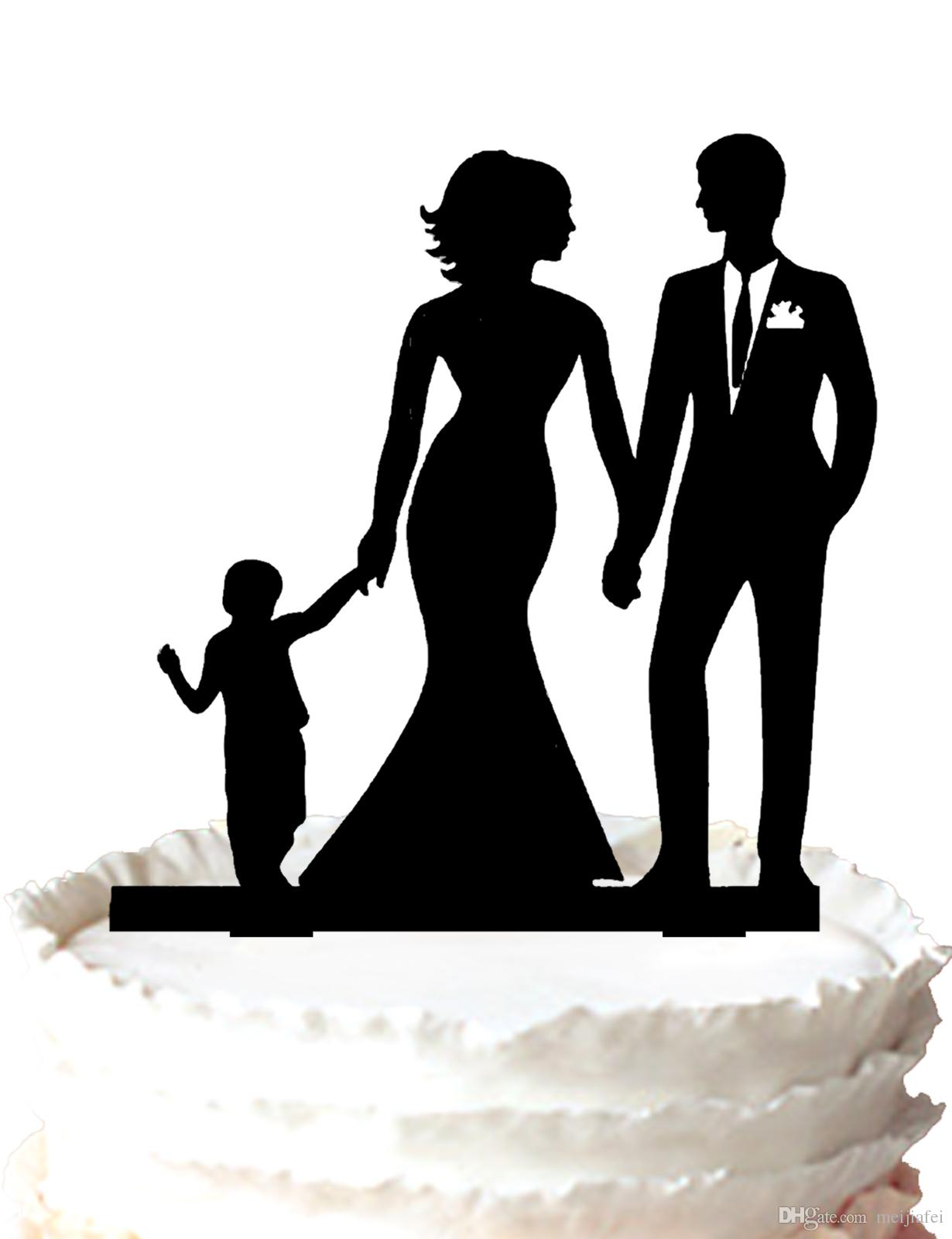 Family Wedding Cake Topper with Boy, Bride And Groom Silhouette ...