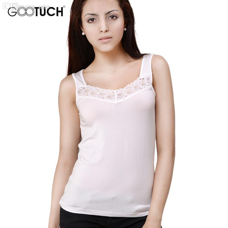 Wholesale-Camisoles Women 95% Modal 5% Spandex Womens Tank Tops Lace Vest Sexy Undershirt High Quality Underwear Gootuch 2224