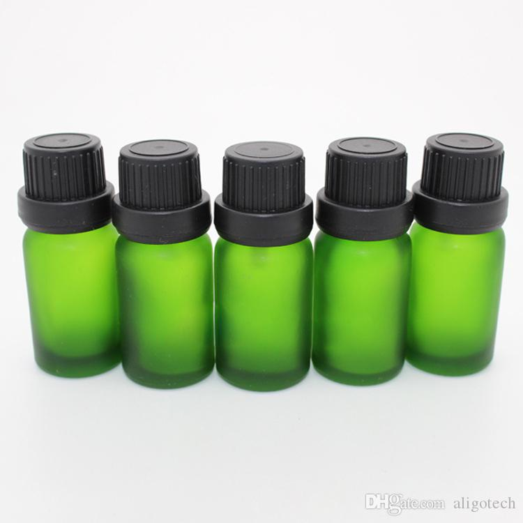 /Carton 10ml Green Glass Dropper Bottles Frosted Eliquid Bottles 10CC with Big Head Tamper Lids for Aromatherapy Perfume