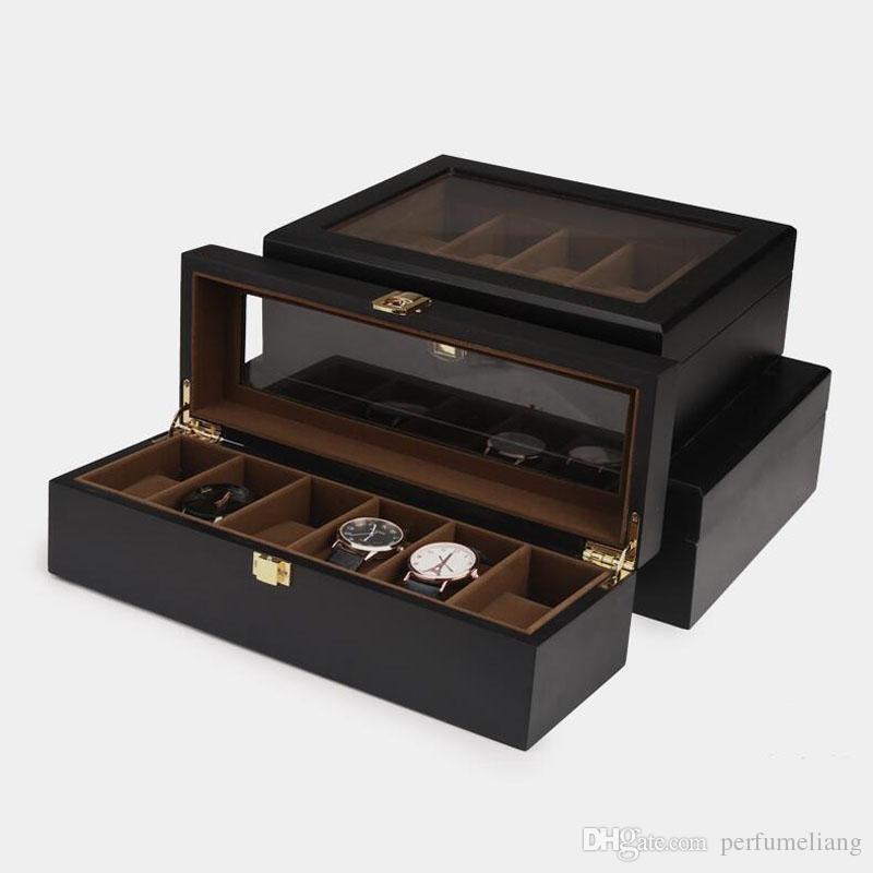 Caixa De Jóias De Madeira de luxo Com Vitrine De Vidro Relógio de Exibição Caixa De Armazenamento De Pulseira Home Organização de Viagens Frete Grátis ZA4336