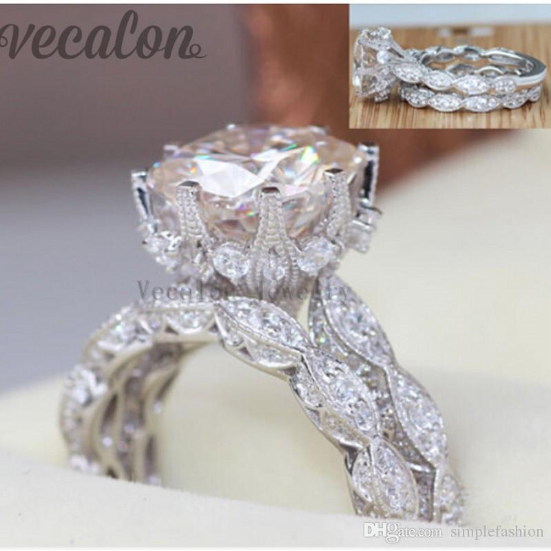 Vecalon 2016 anillo de boda de la boda del compromiso del vintage fijado para las mujeres anillo simulado de la plata esterlina del diamante 3ct Cz 925 de la mujer