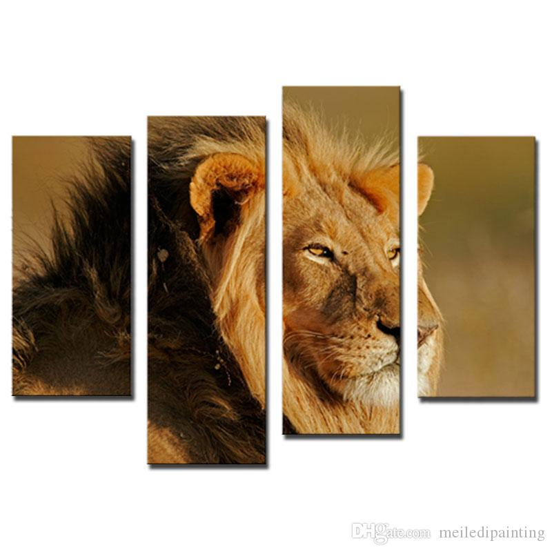 Amosi Art-Big Male Lion Sit At Dry Grassland Wall Art Painting On Canvas Animal Pictures For Home Decor Gift with Wooden Framed