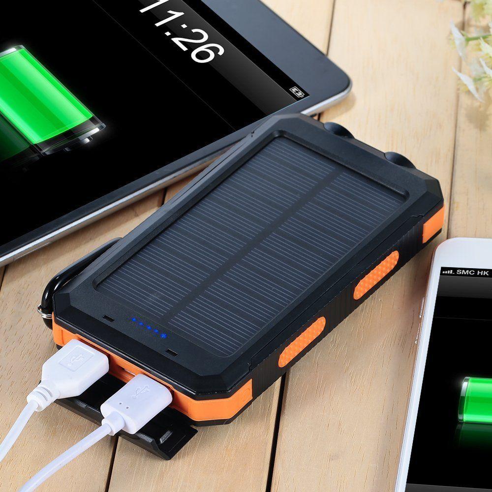 Solarlampen Tragbare Power Bank 10000mAh Externes Backup-Akku Dual-USB-Panel-Ladegerät mit 2LED Light Carabiner Kompass