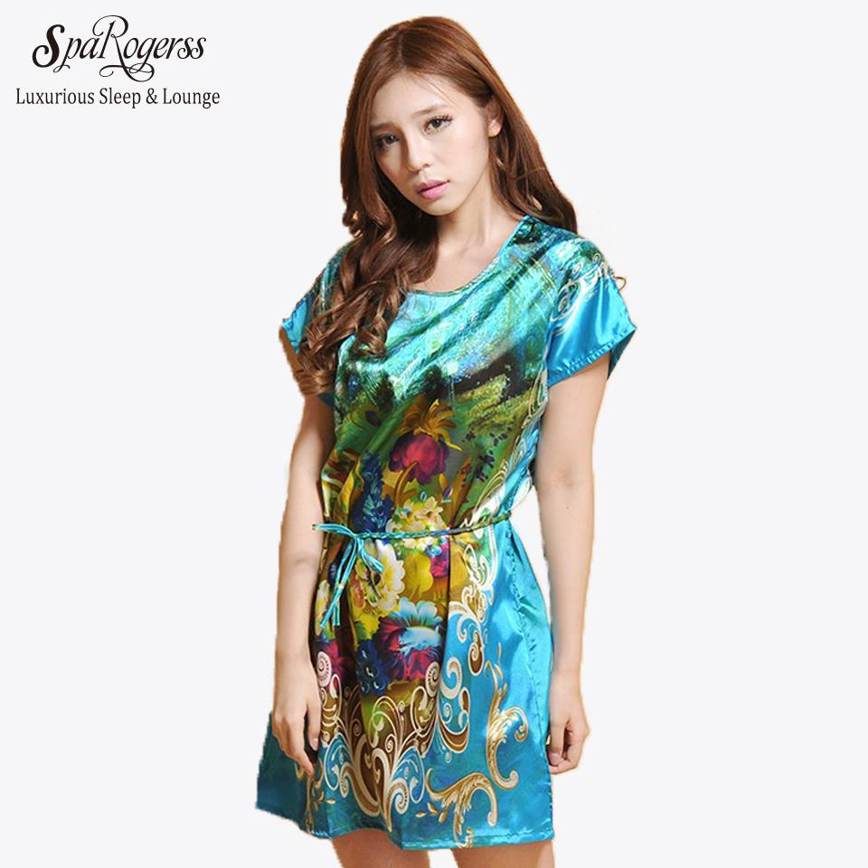 df9aac2397 2019 Wholesale SpaRogerss Drop Shipping Women Sleepshirts 2017 Indoor  Clothing Ladies Lounge Nightwear Print Casual Dressing Gown Pyjama 10040  From ...