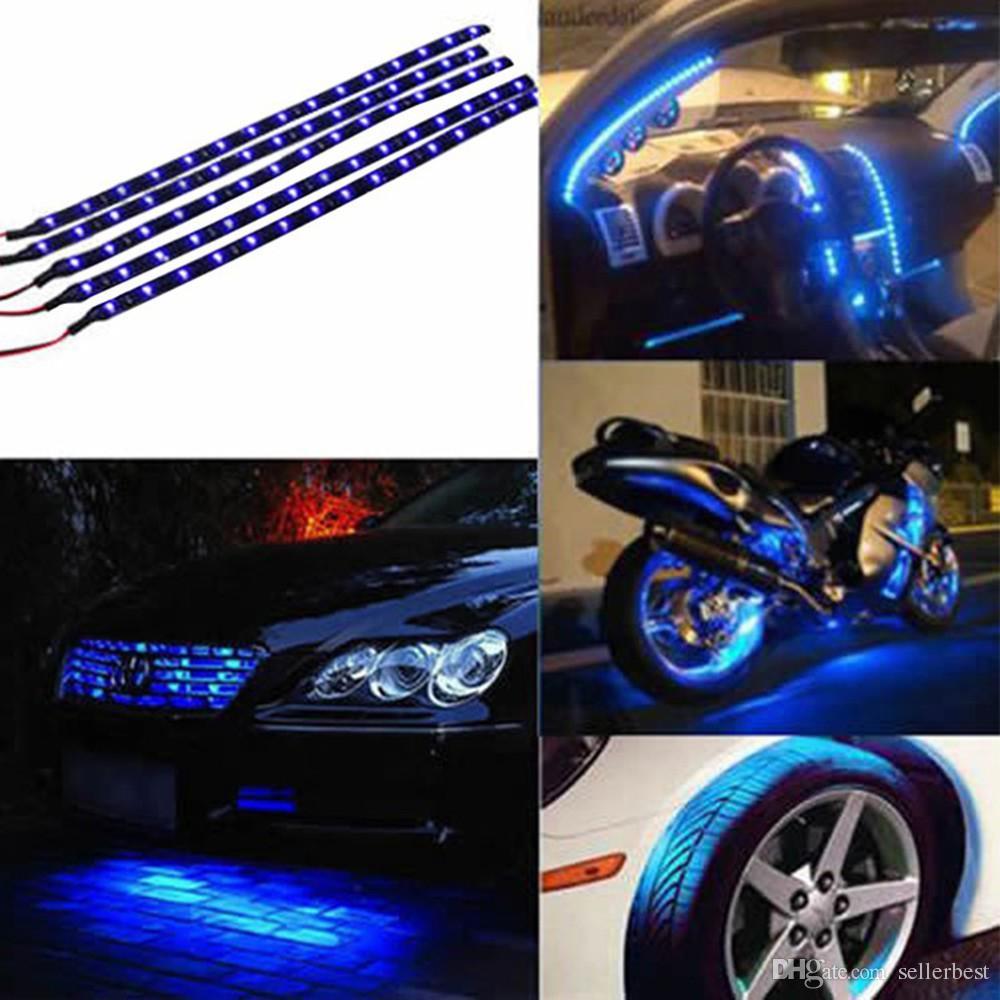 30 см водонепроницаемый 15 синий/красный/желтый/зеленый/белый LED автомобиль автомобиля двигателя гриль Гибкие светодиодные полосы 12 В