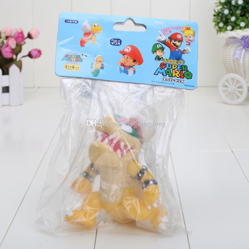 5 inch 12cm Super Mario Koopa bowser pvc doll with red hat Figure Toy Baby Doll figures retail