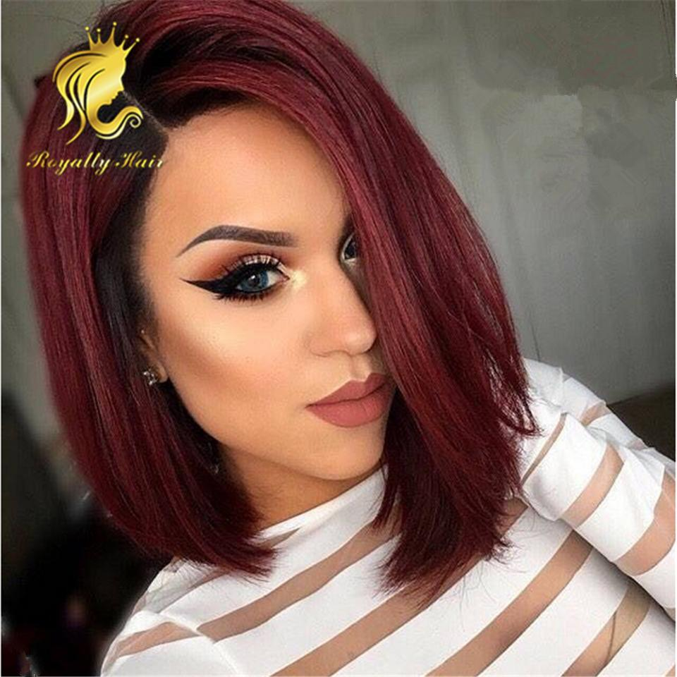 Side Part 100% Unprocessed 1b/99j Human Indian straight Wig Human Hair Glueless Lace Front Human Hair Wigs for Black Women Wholesale price