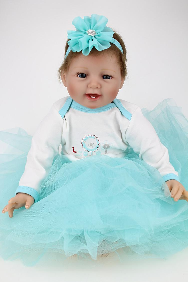 Wholesale- Reborn Baby Doll Real Looking Lifelike Silicone Reborn Baby Toy 22 Inch 55cm