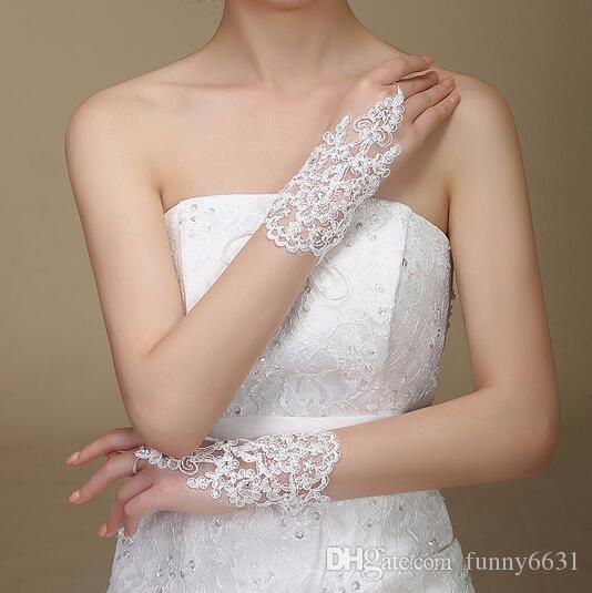 جديد وصول امرأة حزب الرباط يزين الخرز أصابع طول المعصم مع الشريط الزفاف قفازات الزفاف اكسسوارات 3 ألوان شحن مجاني