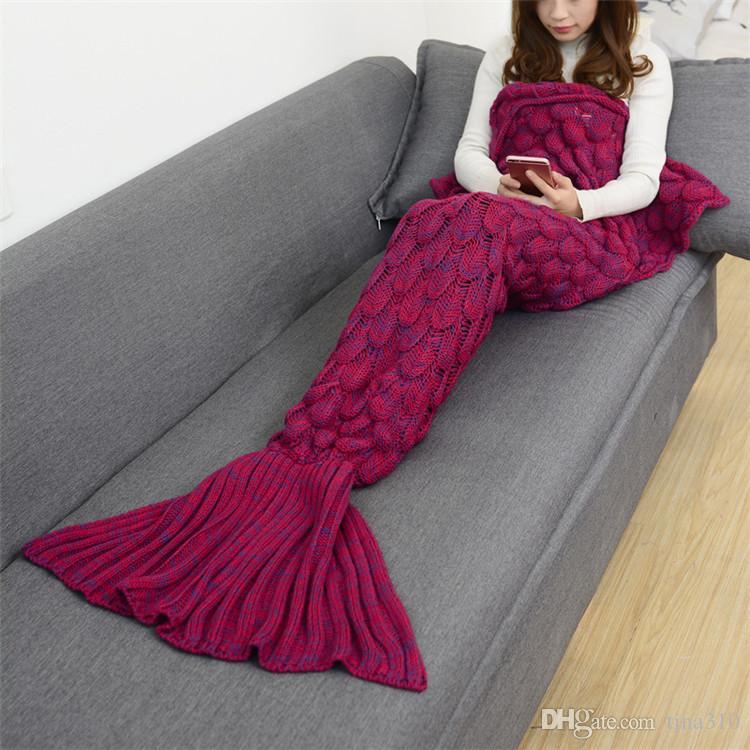 9 цветов 180 * 90 см Русалка хвост одеяла Русалка хвост спальные мешки кокон матрас диван нит одеяло ручной работы гостиная спальный мешок IB403