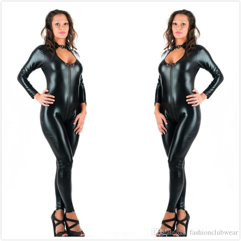 a54c1781a39b5 2019 5XL Plus Size Sexy Novelty Women Black Faux Leather Latex Catsuit  Zipper Front Jumpsuit Fancy Dress Fetish Erotic Body Suit PU From  Fashionclubwear