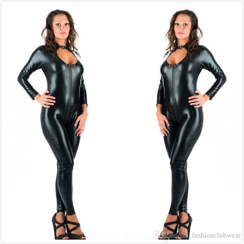 Acheter 5XL Plus Taille Sexy Nouveauté Femmes Noir En Cuir Simili Latex  Catsuit Fermeture À Glissière Avant Combinaison Fantaisie Robe Fétiche  Érotique ... 3a2627ed718