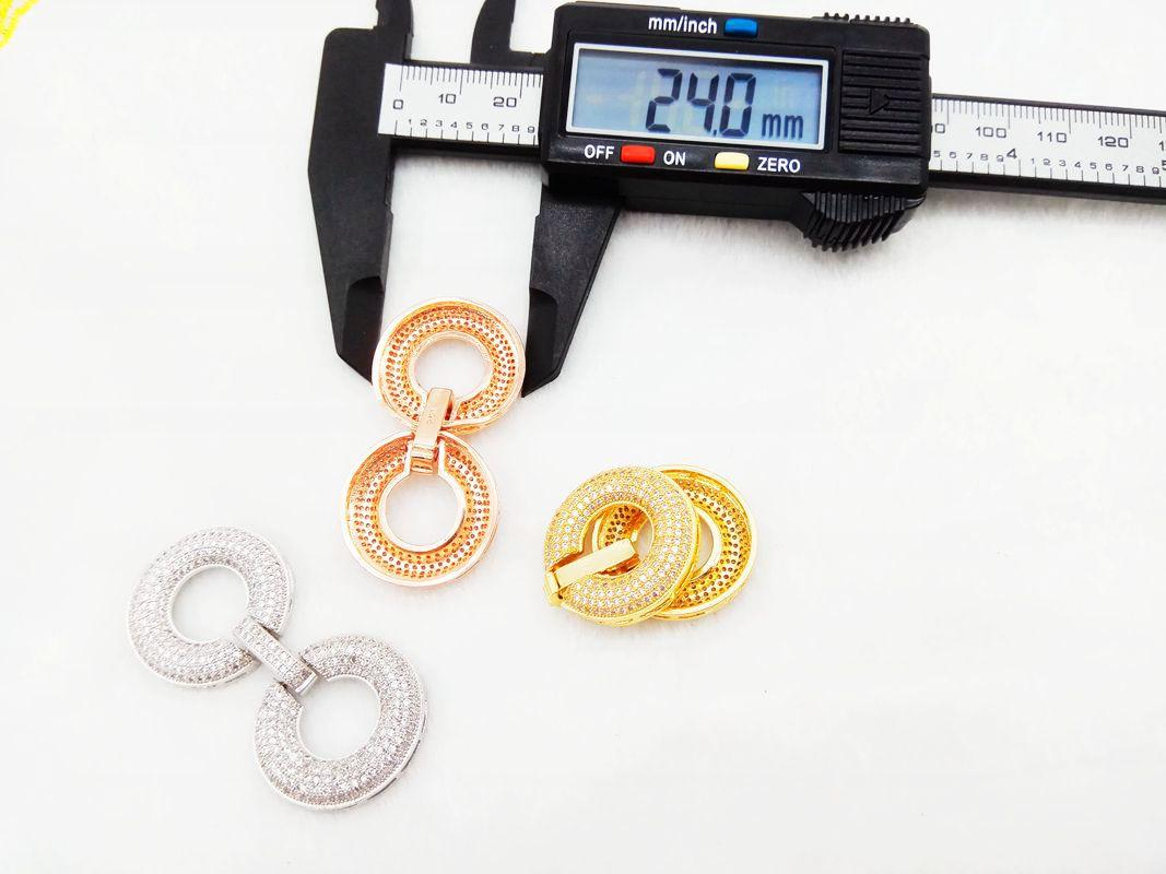 Wholesale Diamond Number Eight Buckle, Gold-Plated Micro Inlay Zircon, Full Drill Bicyclo Connection Buckle For Jewelry Finding