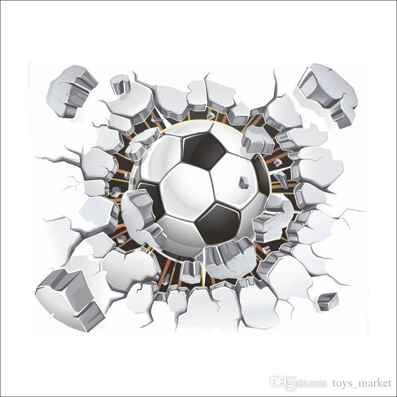 Grosshandel Brocken Fussball Fussball Wandaufkleber 3d Wandaufkleber
