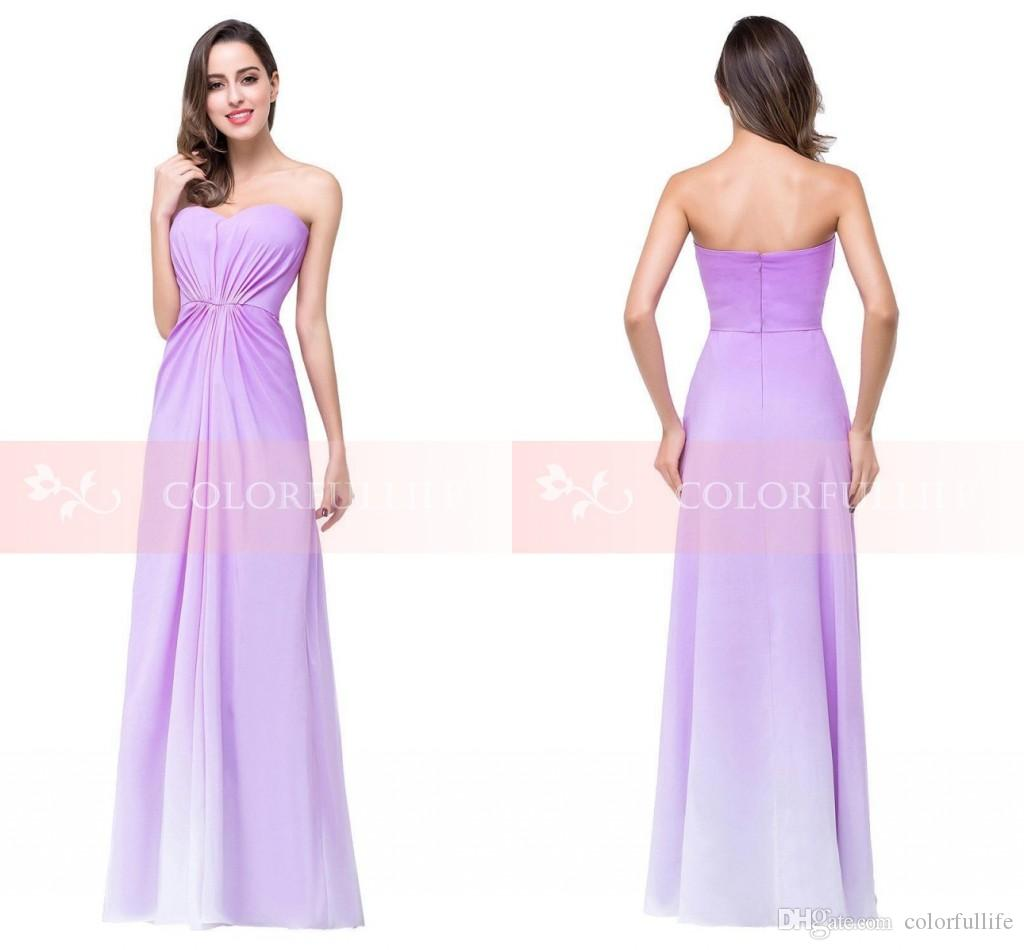 2016 Cheap Strapless Lilac Gradient Bridesmaid Dresses Sexy Long ...