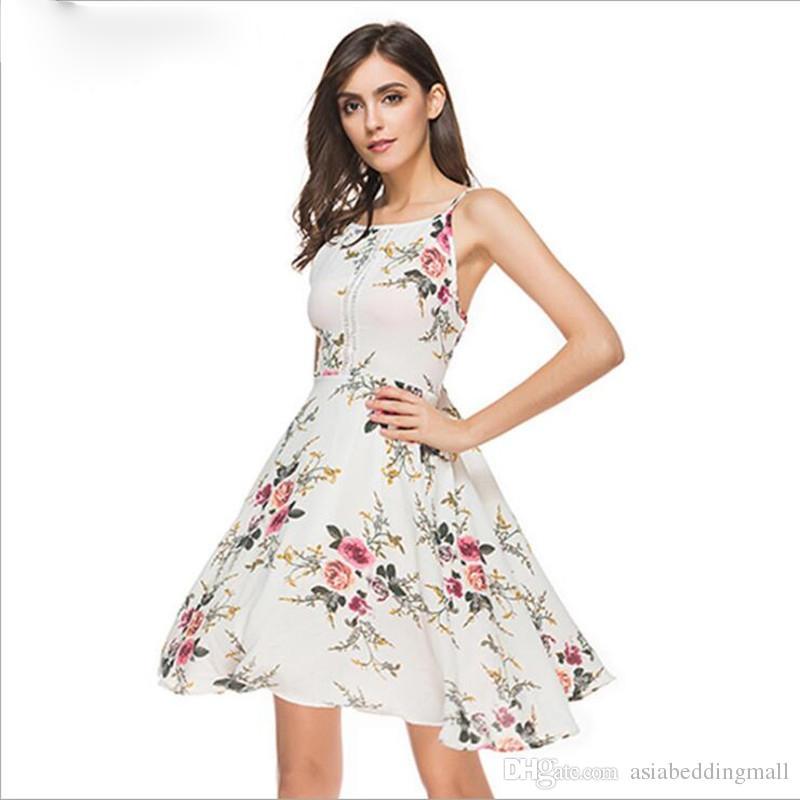b65790456b34 Compre Floral Imprimir Halter Chiffon Dress Mulheres Maxi Vestidos Casuais  Vestidos Sexy Branco Split Beach Summer Dress De Asiabeddingmall