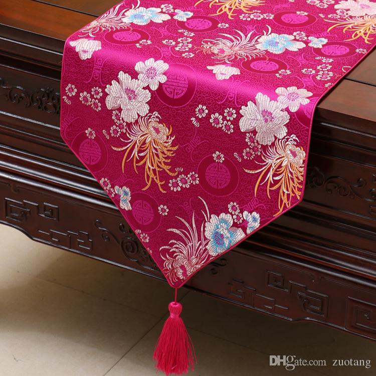 Pretty chrysanthemum bord löpare mode lyx rektangel matbord tyg portion pads high end kaffe borddukar 200 x 33cm
