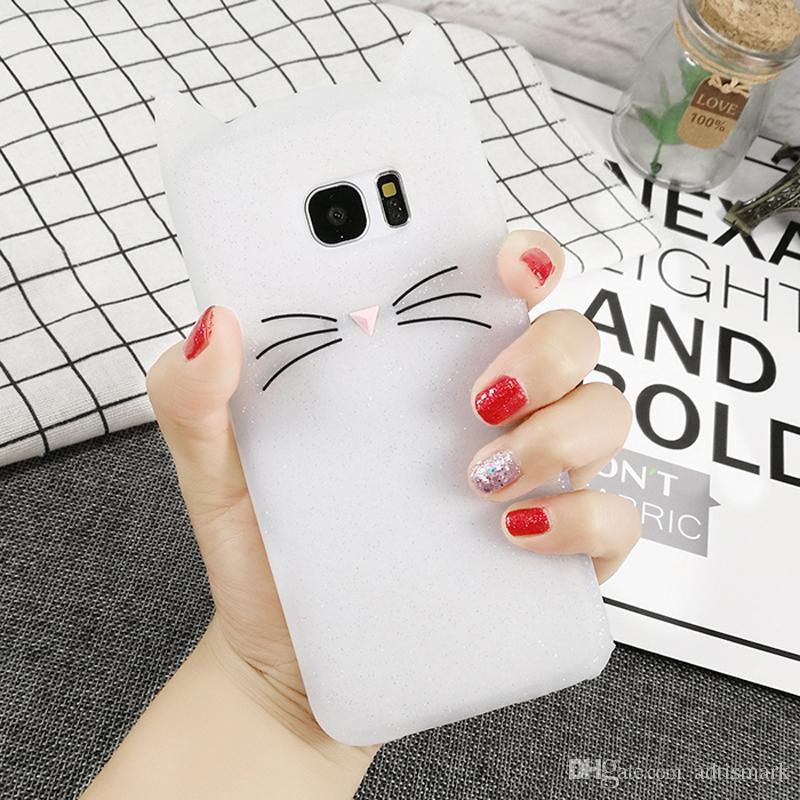 Cas de bande dessinée de mode en silicone pour Samsung Galaxy S5 S6 S7 Edge S8 Plus J3 J5 J7 Couverture de chat barbe