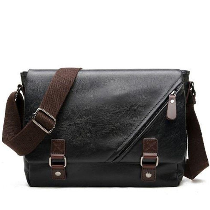 New design Men shoulder bag pu Leather Handbag Black Brown Briefcase Shoulder Bag Retro Men envelope Cross Body Bags out299