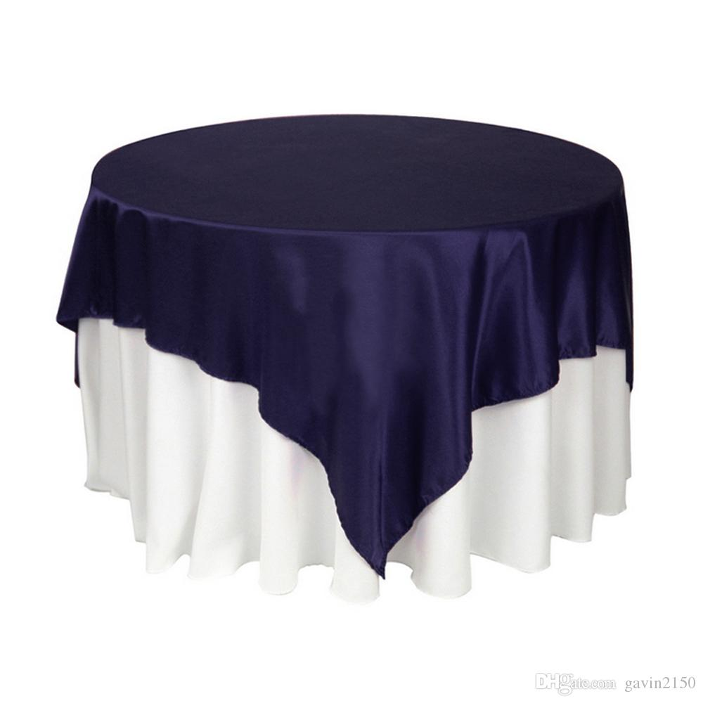 Factory Selling 145*145cm Christmas Wedding Party Home Satin TableCloth Square Table Overlay