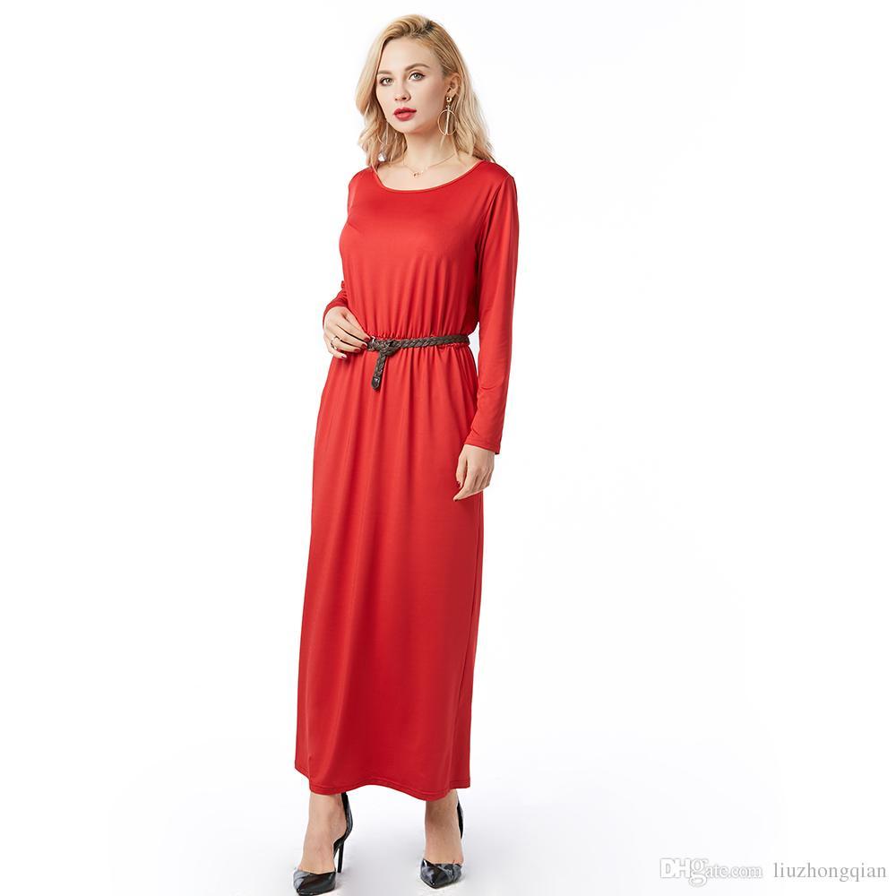 Beauty Garden women clothes plus size dresses women s best dress for womens Crew Neck Floor-length Long Sleeve Belt Black Wine Red Blue