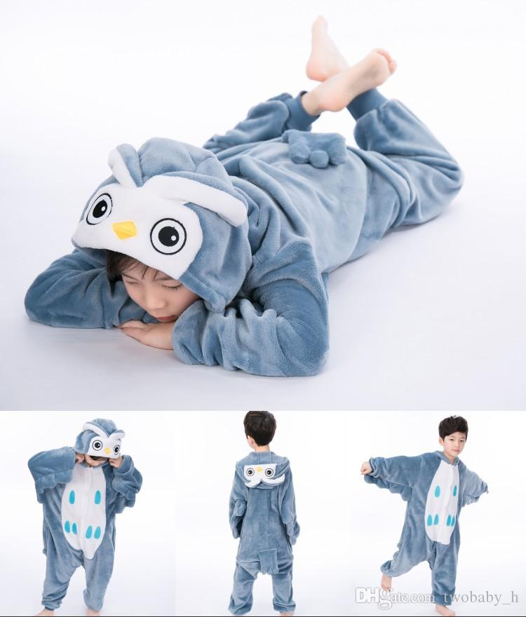 Fanila çocuk karikatür yapışık pijama hayvan örümcek sonbahar ve kış erkek ve kız çocuk Tongbao kalın ev giysileri