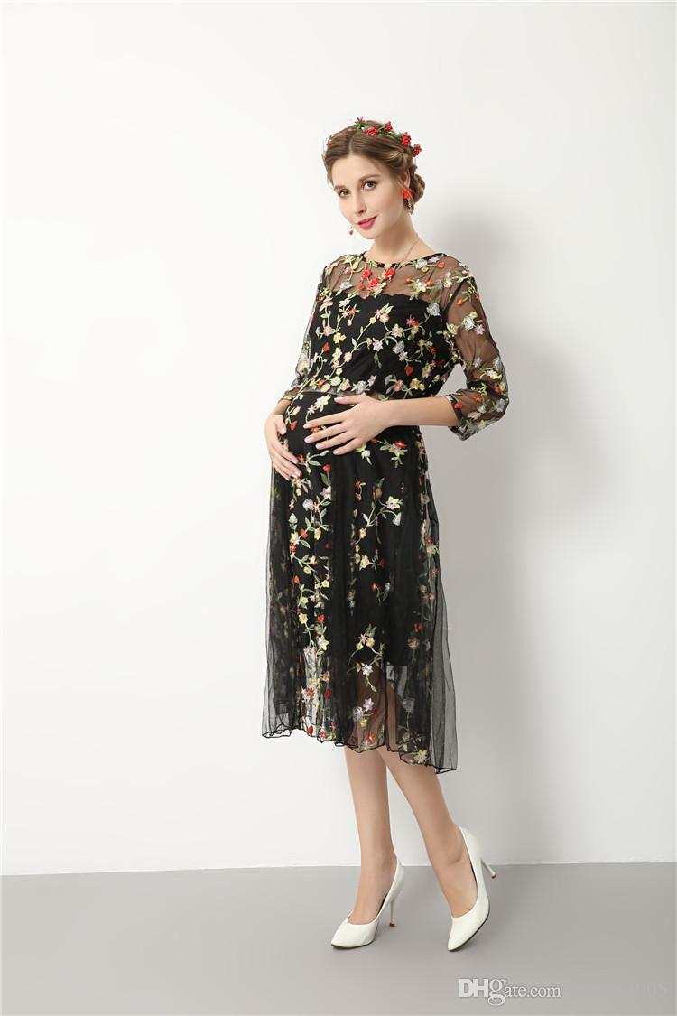 autumn and Summer Pregnant Women Dresses Maternity Photography Fancy Props Dresses Maternity Photo Shooting Crochet Lace Dresses