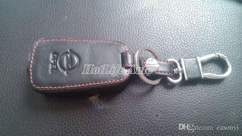 Vauxhall Opel Astra J Car Keychain Genuine Leather Key Case Cover 3 Button Remote Car Key Shell Cover Chain Ring Car Accessories