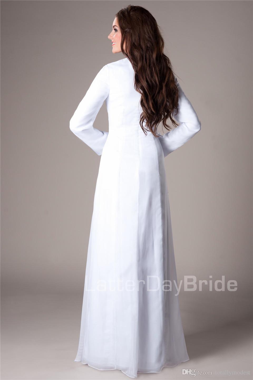 비공식 화이트 쉬폰 템플 겸손한 웨딩 드레스와 긴 소매 프릴 A 라인 길이 리셉션 신부 가운 맞춤 제작 저렴한
