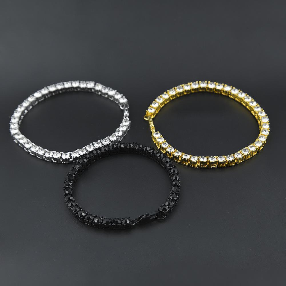 Glacé sur 1 rangée de strass Bracelet Hommes Hip Hop Style Effacer Diamant Simulé 7/8 / 9inches Bracelet Bling Bling